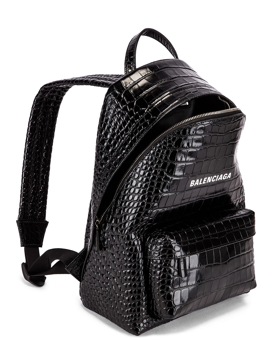 Image 5 of Balenciaga Small Embossed Croc Everyday Backpack in Black