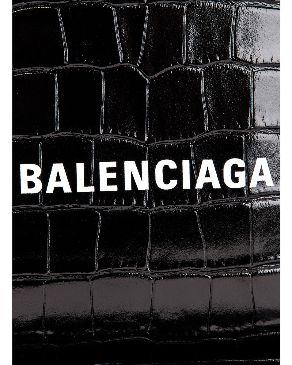 Image 7 of Balenciaga Small Embossed Croc Everyday Backpack in Black