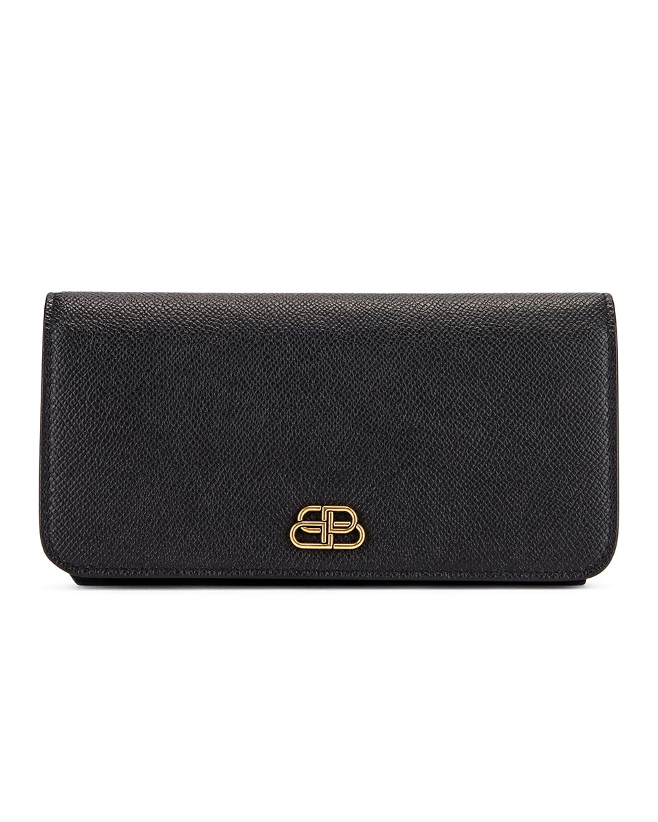 Image 1 of Balenciaga BB Thin Money Wallet in Black