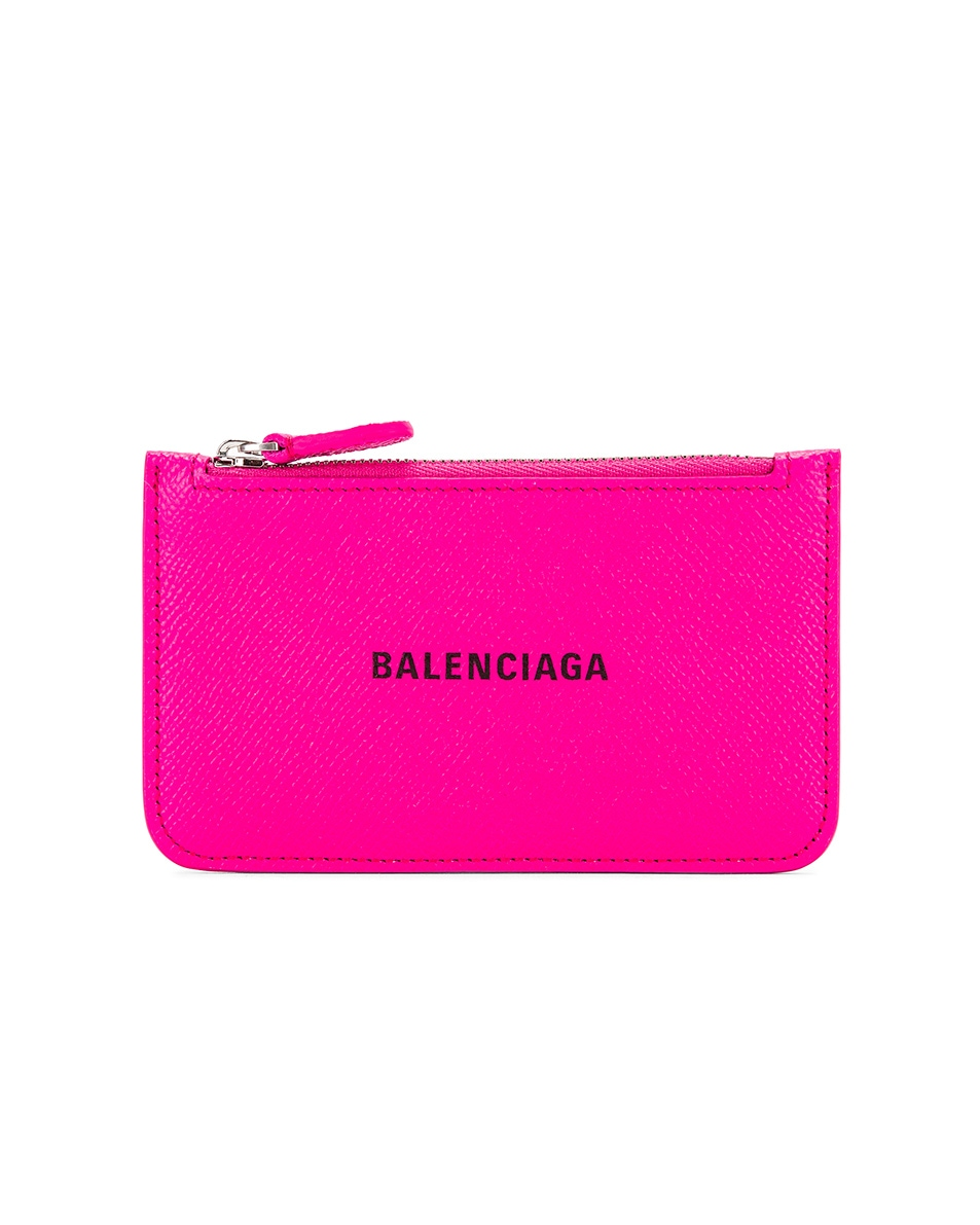 Image 1 of Balenciaga Long Cash & Coin Wallet in Acid Fuchsia & Black