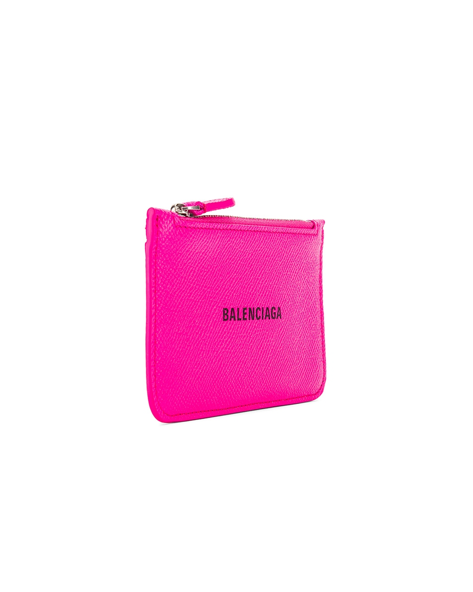 Image 3 of Balenciaga Long Cash & Coin Wallet in Acid Fuchsia & Black