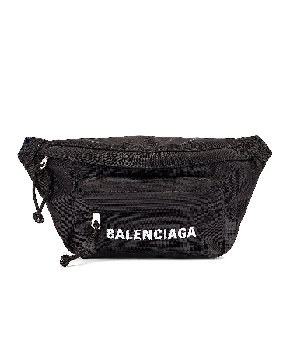 Image 1 of Balenciaga S Wheel Logo Belt Bag in Black & Navy Blue