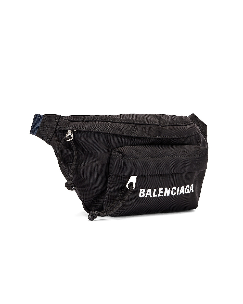 Image 4 of Balenciaga S Wheel Logo Belt Bag in Black & Navy Blue