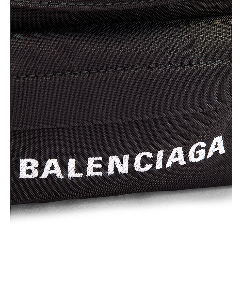 Image 7 of Balenciaga S Wheel Logo Belt Bag in Black & Navy Blue