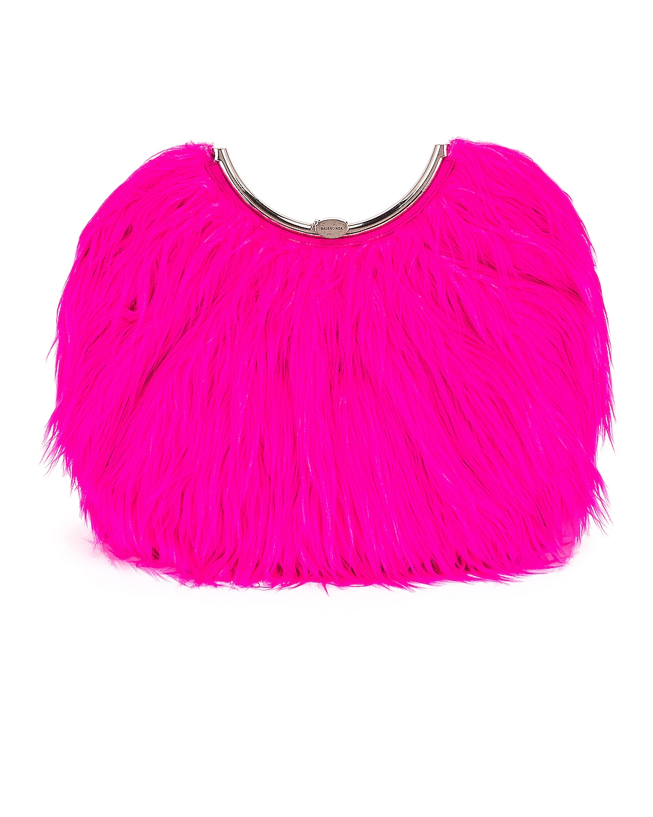 Image 1 of Balenciaga Large Curve Clutch in Acid Fuchsia