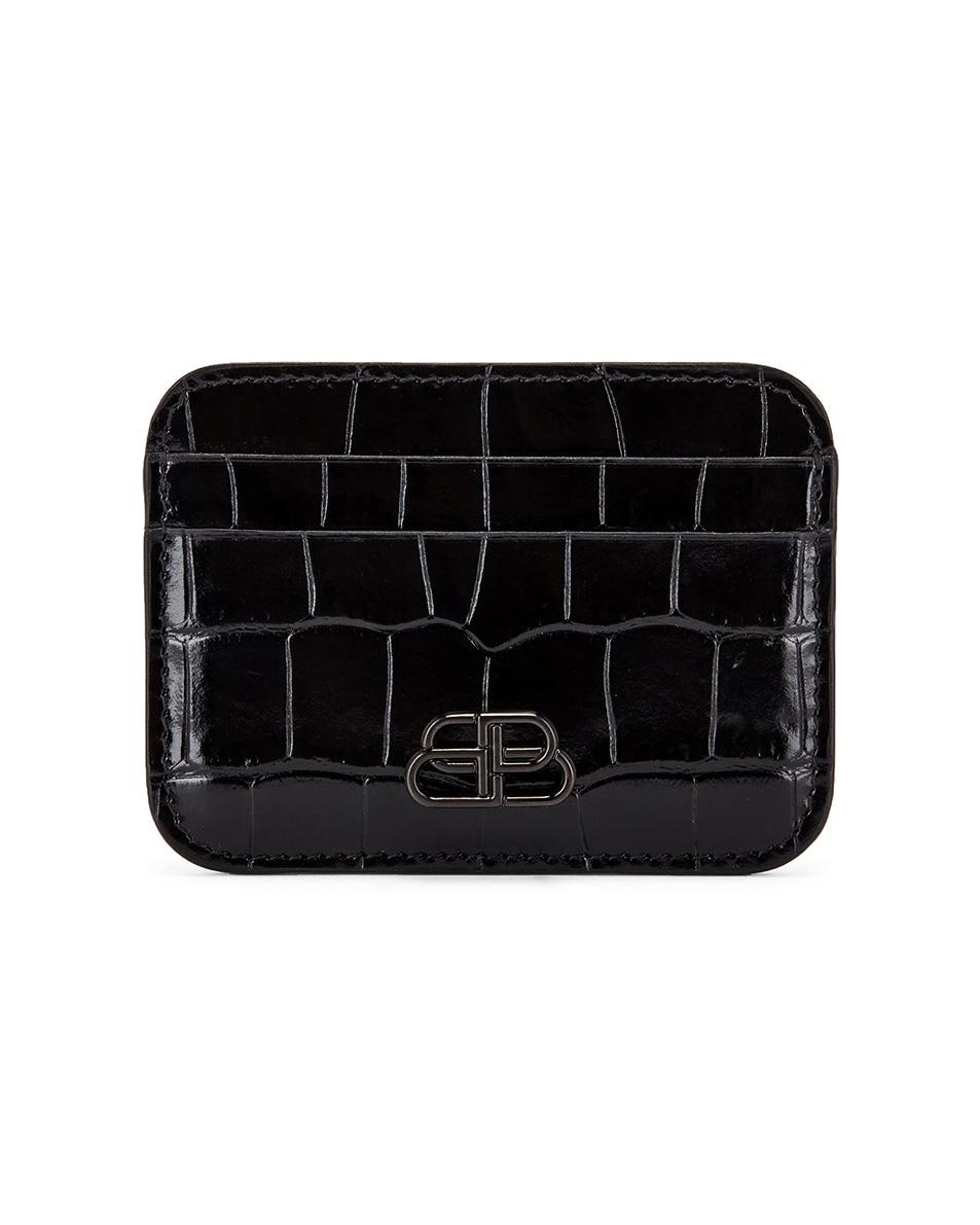 Image 1 of Balenciaga BB Card Holder in Black