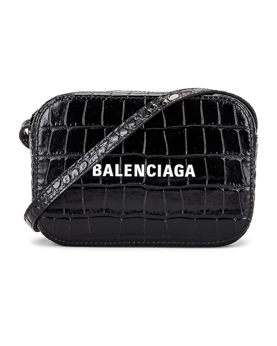 Image 1 of Balenciaga XS Embossed Croc Logo Camera Bag in Black