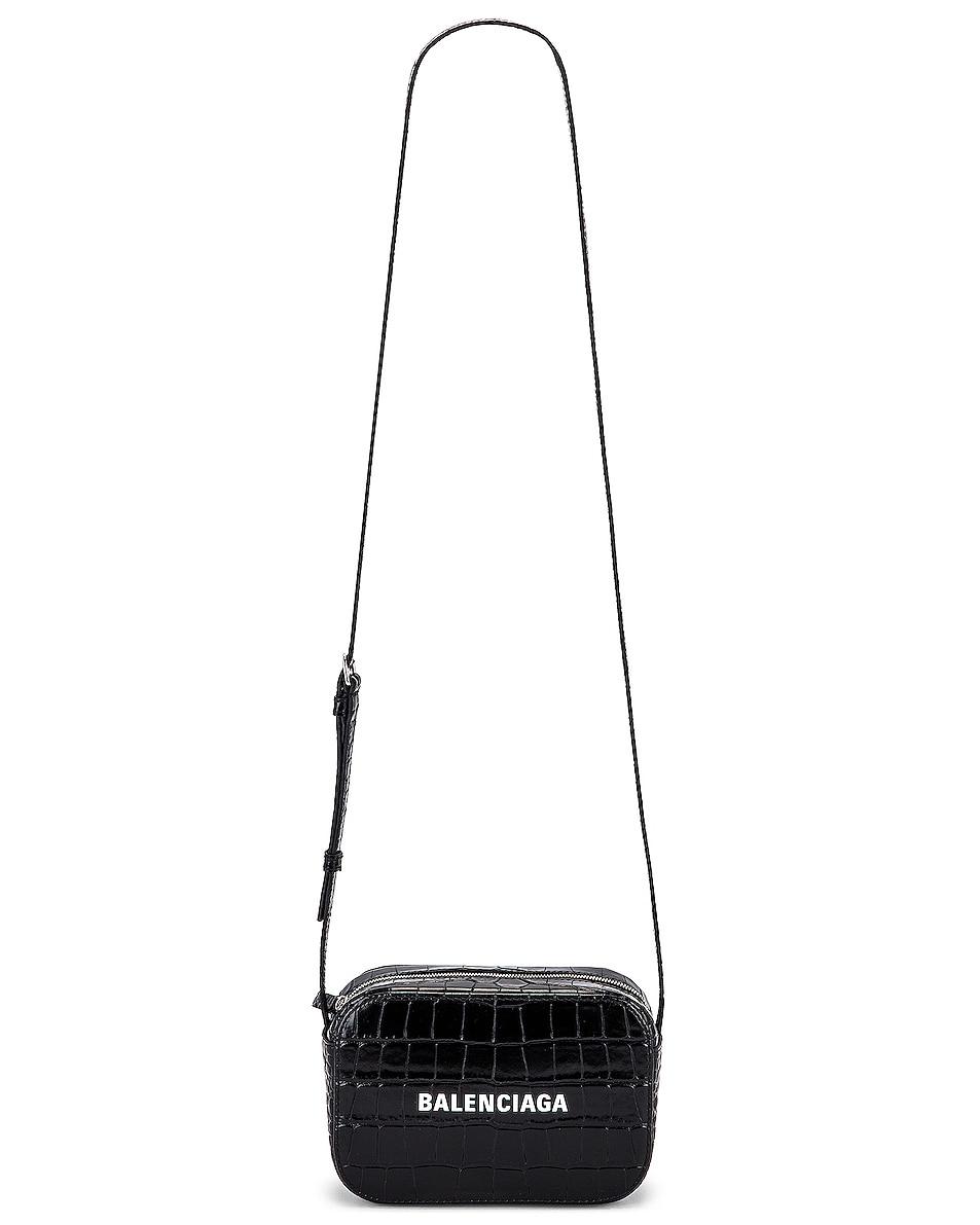 Image 6 of Balenciaga XS Embossed Croc Logo Camera Bag in Black