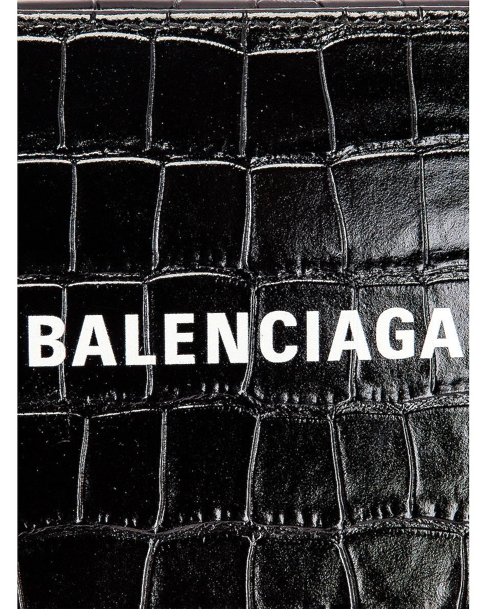 Image 8 of Balenciaga XS Embossed Croc Logo Camera Bag in Black
