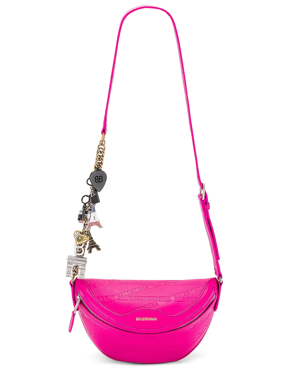 Image 1 of Balenciaga XXS Souvenir Charm Bag in Acid Fuchsia