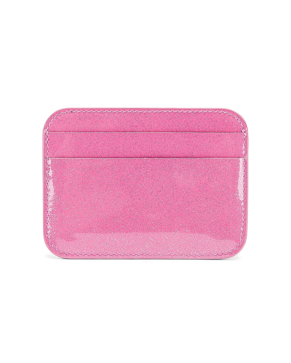 Image 2 of Balenciaga Glitter BB Card Holder in Old Rose & Black
