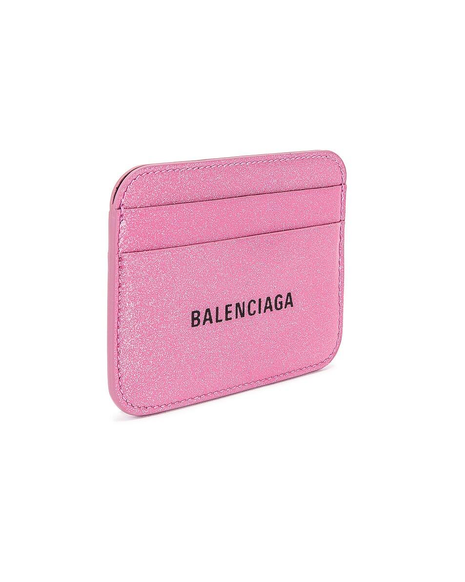 Image 3 of Balenciaga Glitter BB Card Holder in Old Rose & Black