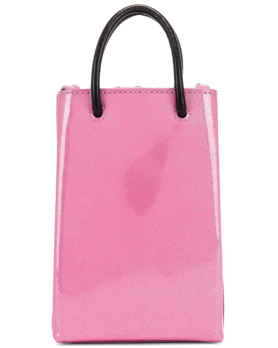 Image 3 of Balenciaga Glitter Shopping Phone on Strap Bag in Old Rose