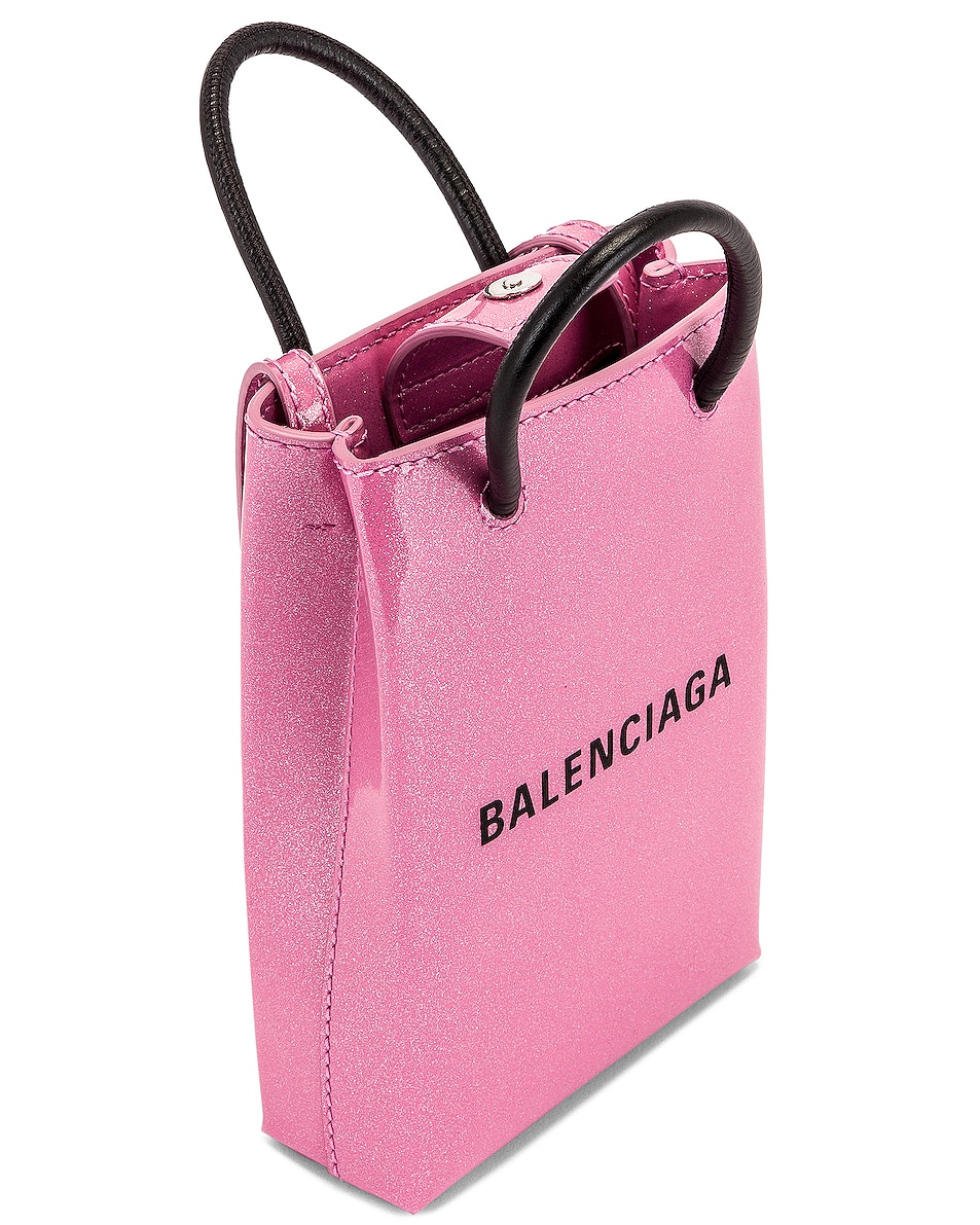 Image 5 of Balenciaga Glitter Shopping Phone on Strap Bag in Old Rose