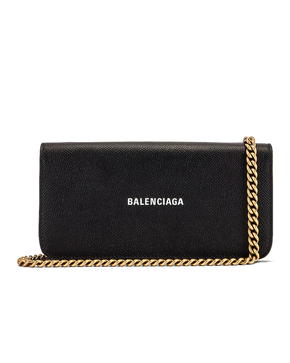 Image 1 of Balenciaga Continental Wallet on Chain Bag in Black & White