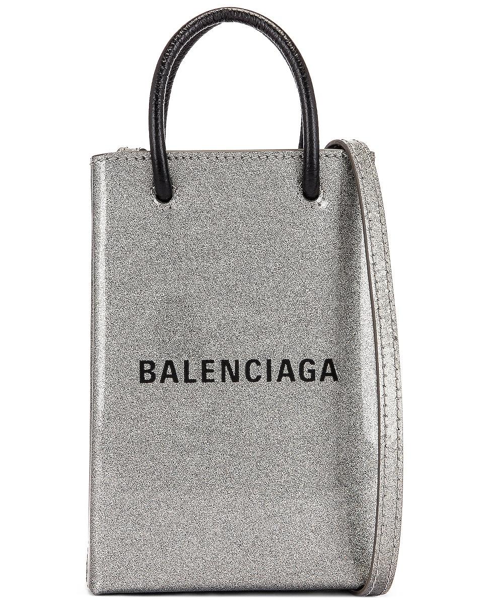Image 1 of Balenciaga Glitter Shopping Phone on Strap Bag in Silver