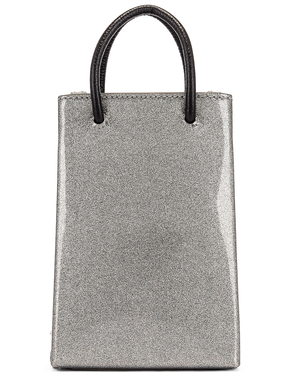 Image 3 of Balenciaga Glitter Shopping Phone on Strap Bag in Silver