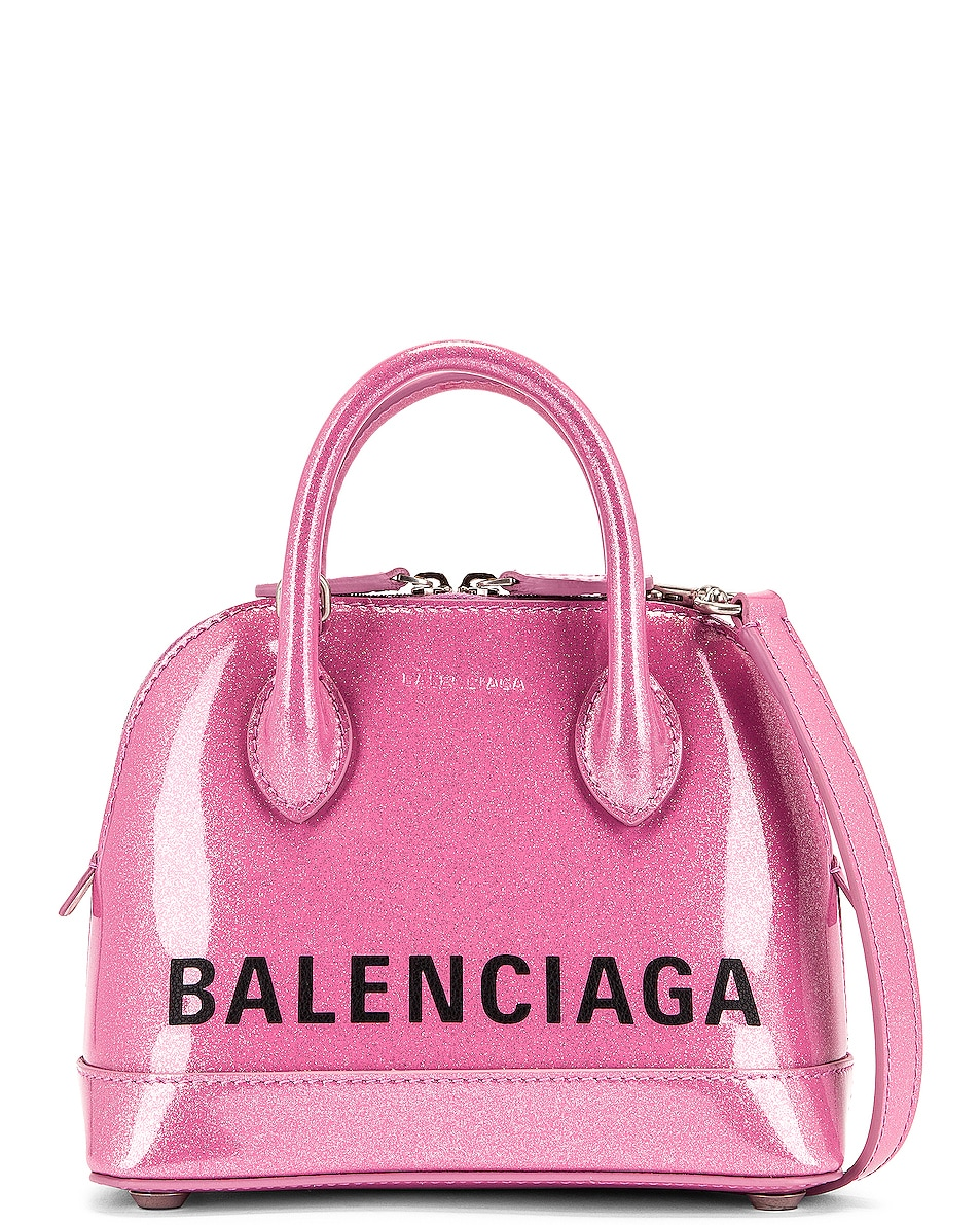 Image 1 of Balenciaga XXS Glitter Ville Top Handle Bag in Old Rose & Black