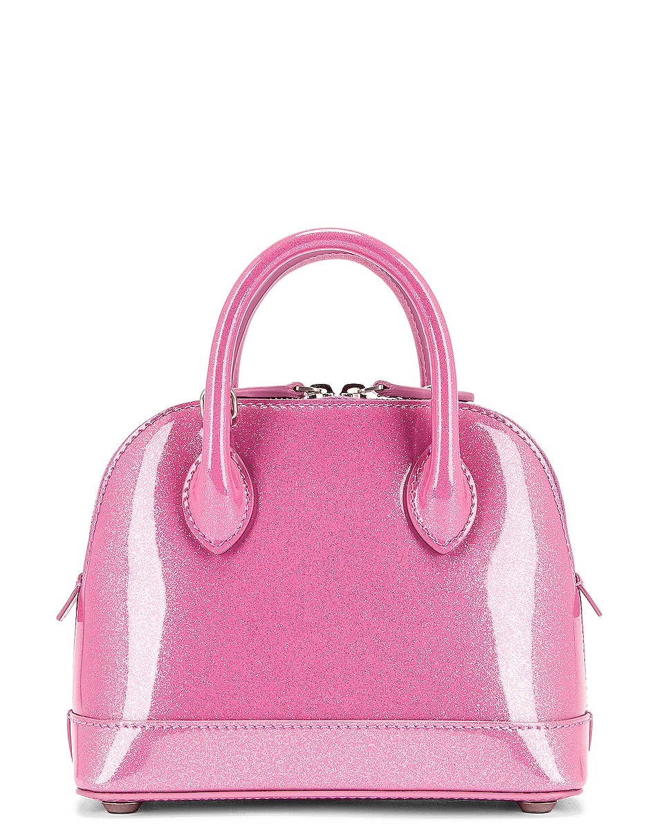 Image 3 of Balenciaga XXS Glitter Ville Top Handle Bag in Old Rose & Black