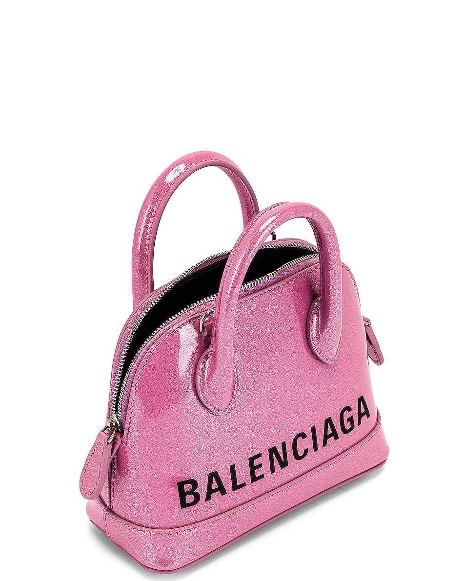 Image 5 of Balenciaga XXS Glitter Ville Top Handle Bag in Old Rose & Black