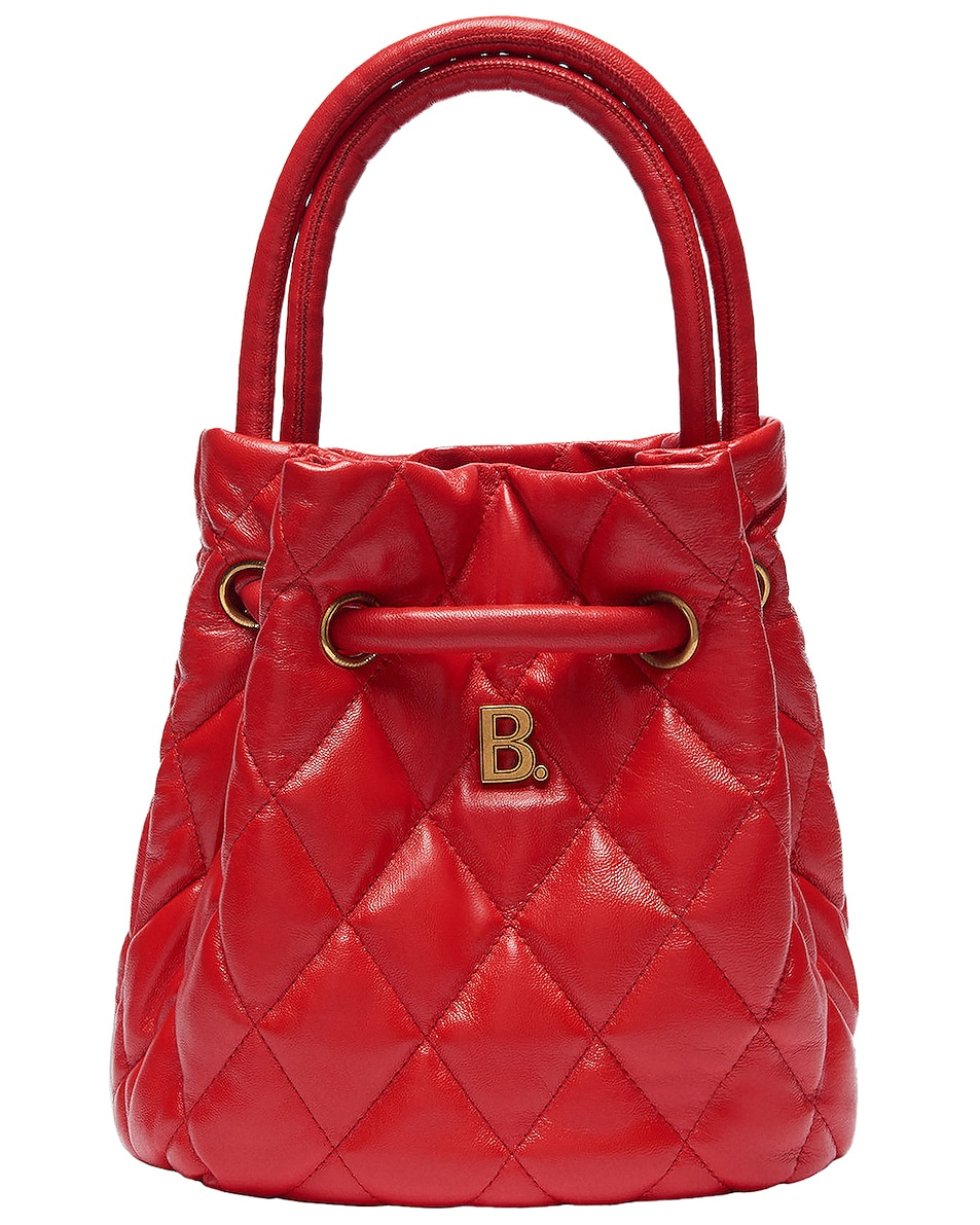 Image 1 of Balenciaga Small Quilted Leather B Bucket Bag in Bright Red