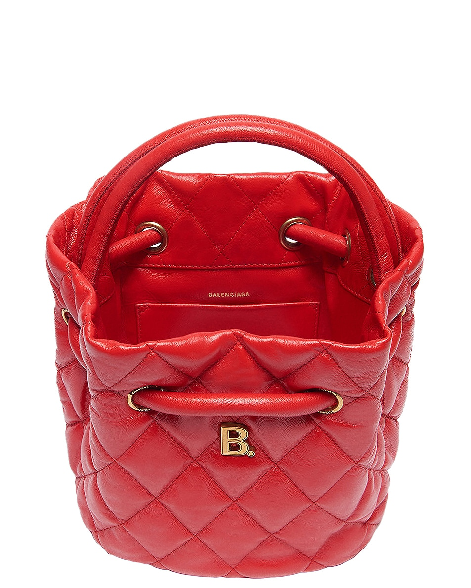 Image 4 of Balenciaga Small Quilted Leather B Bucket Bag in Bright Red