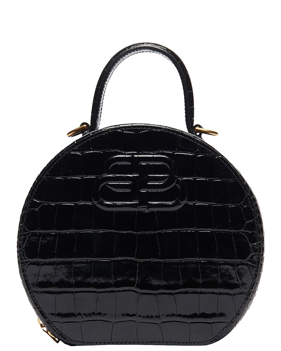Image 1 of Balenciaga XS Embossed Croc Vanity Round Bag in Black