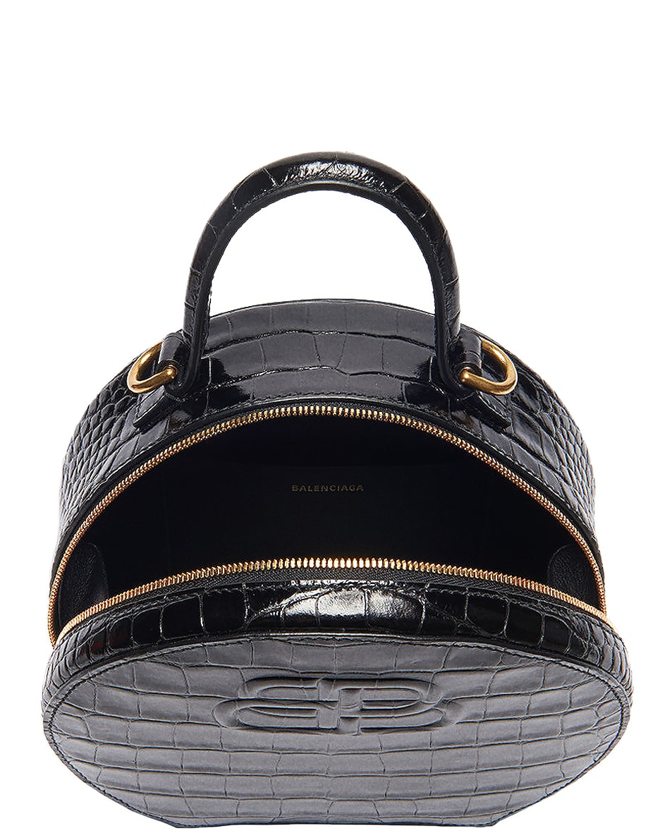 Image 4 of Balenciaga XS Embossed Croc Vanity Round Bag in Black