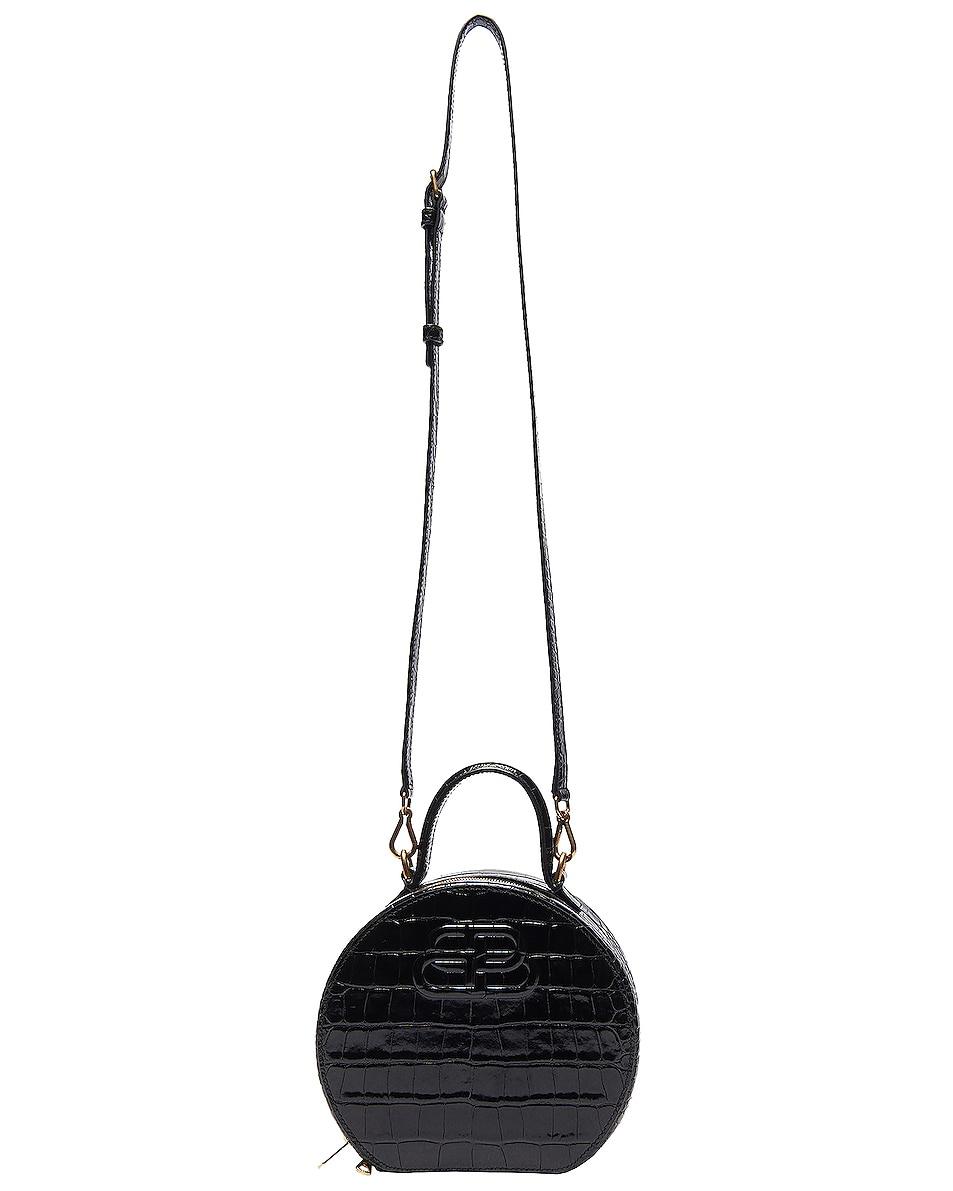 Image 5 of Balenciaga XS Embossed Croc Vanity Round Bag in Black
