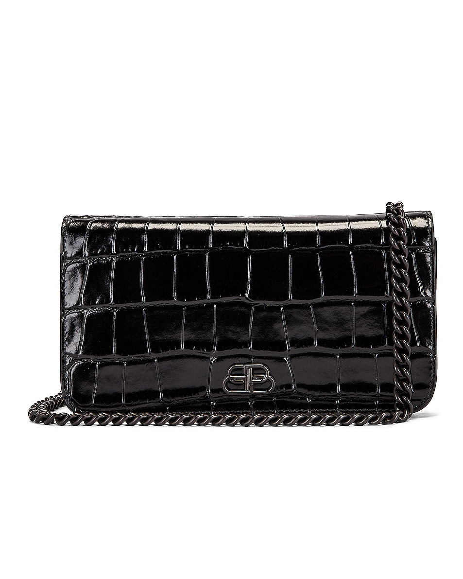 Image 1 of Balenciaga BB Embossed Croc Phone Holder Chain Bag in Black