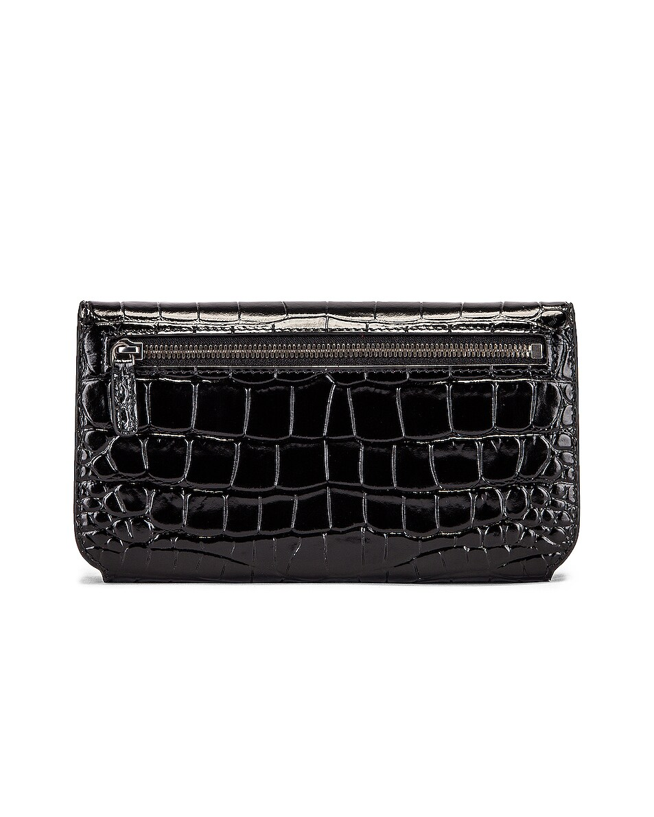 Image 2 of Balenciaga BB Embossed Croc Phone Holder Chain Bag in Black