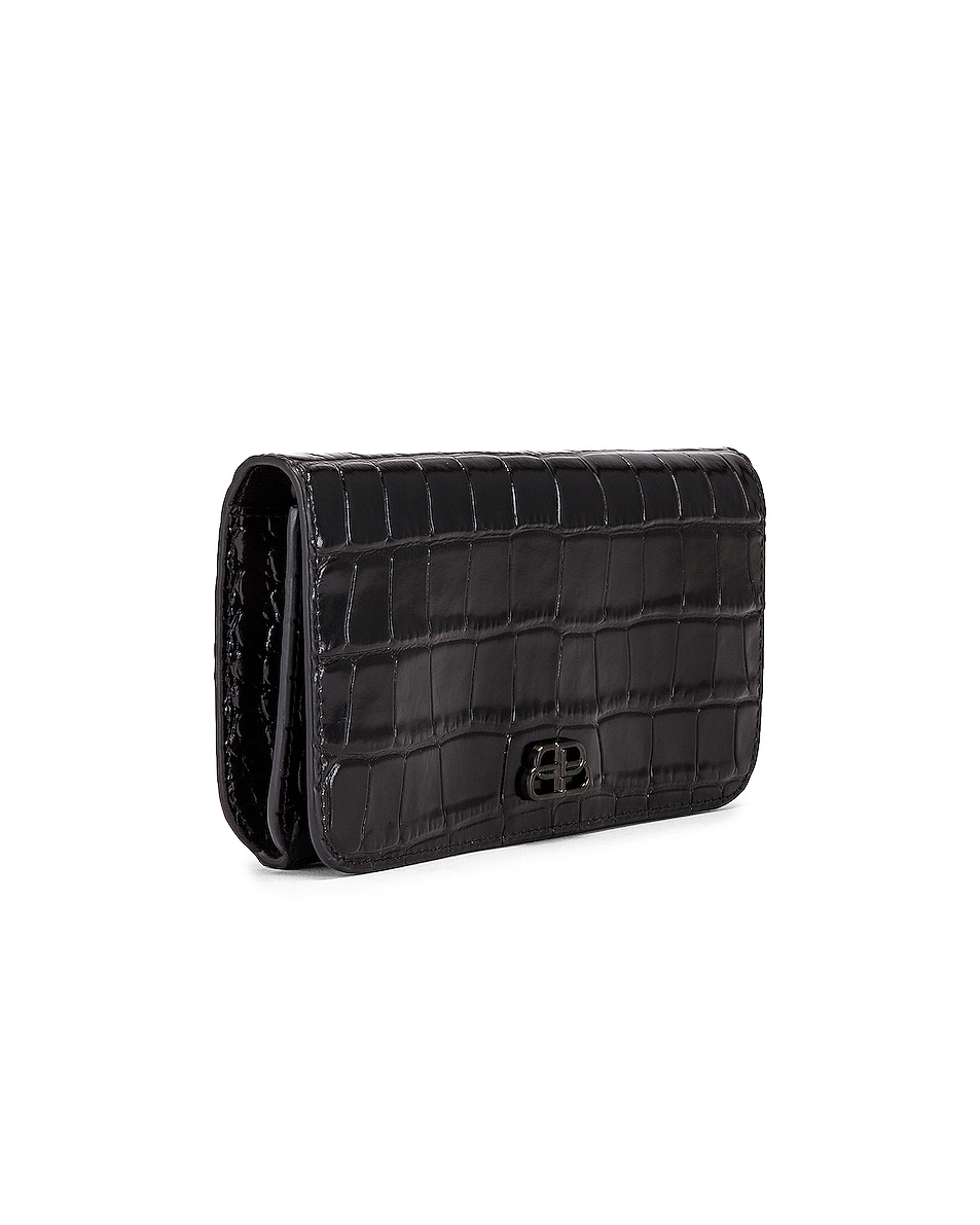Image 3 of Balenciaga BB Embossed Croc Phone Holder Chain Bag in Black