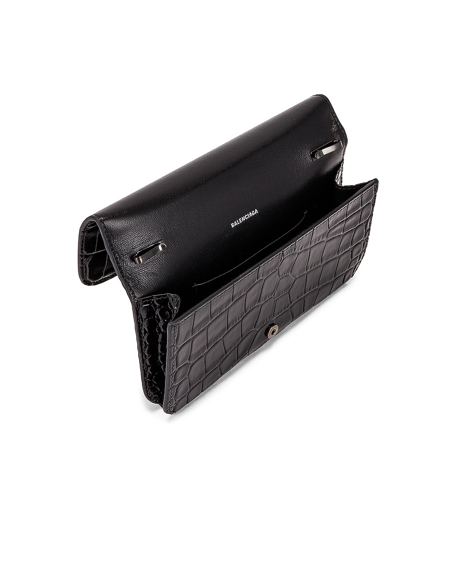 Image 4 of Balenciaga BB Embossed Croc Phone Holder Chain Bag in Black
