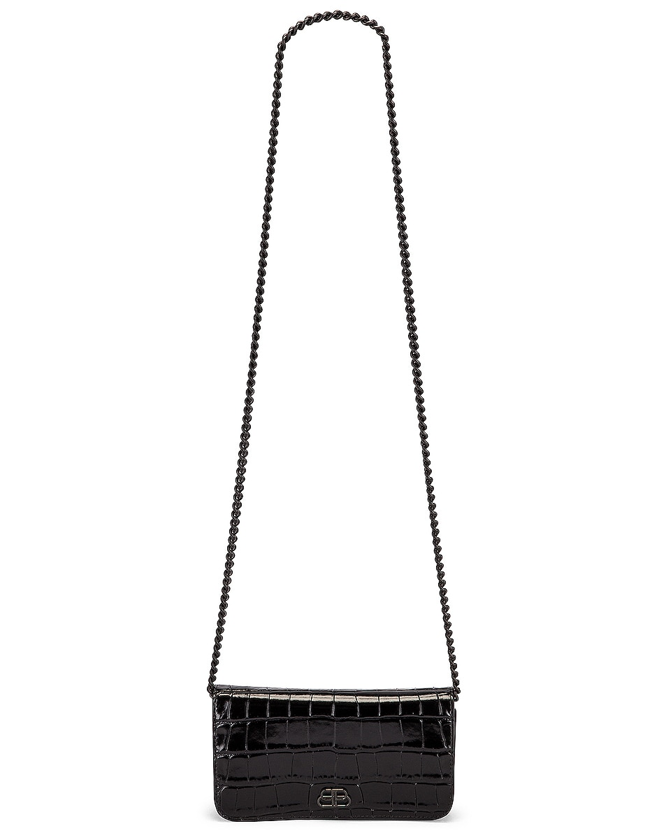 Image 5 of Balenciaga BB Embossed Croc Phone Holder Chain Bag in Black