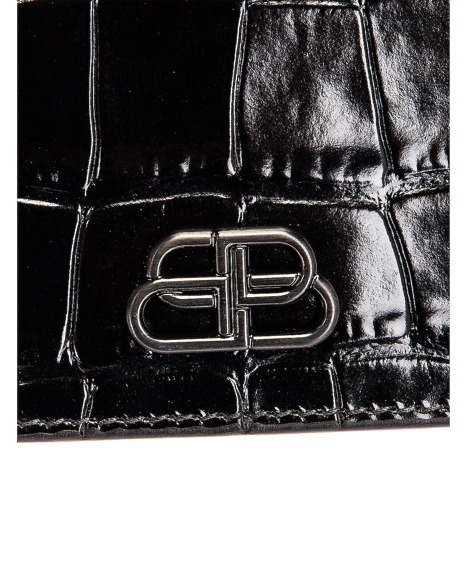 Image 7 of Balenciaga BB Embossed Croc Phone Holder Chain Bag in Black