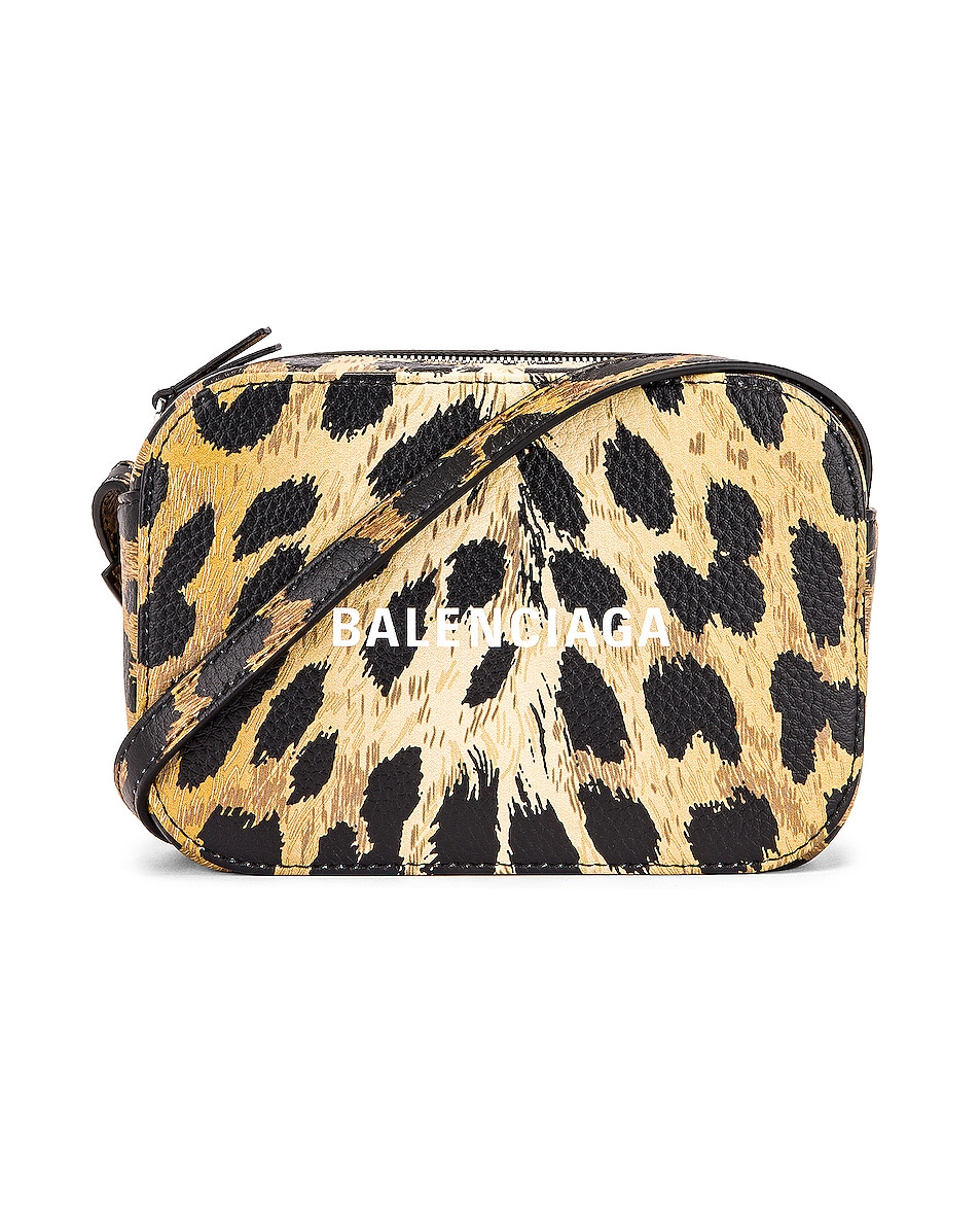Image 1 of Balenciaga XS Leopard Everyday Camera Bag in Brown & White