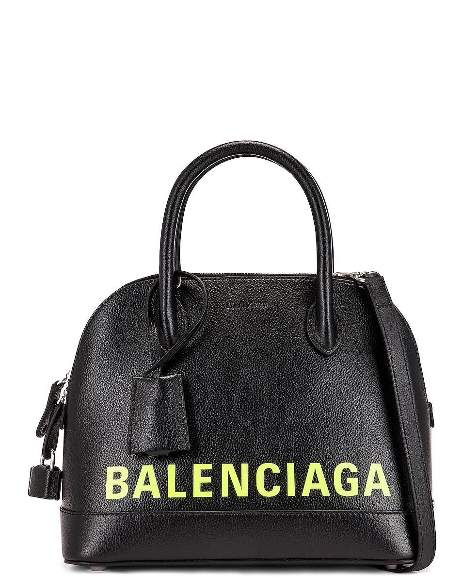 Image 1 of Balenciaga Small Logo Ville Top Handle Bag in Black & Fluo Yellow