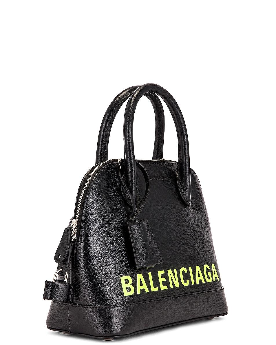 Image 4 of Balenciaga Small Logo Ville Top Handle Bag in Black & Fluo Yellow