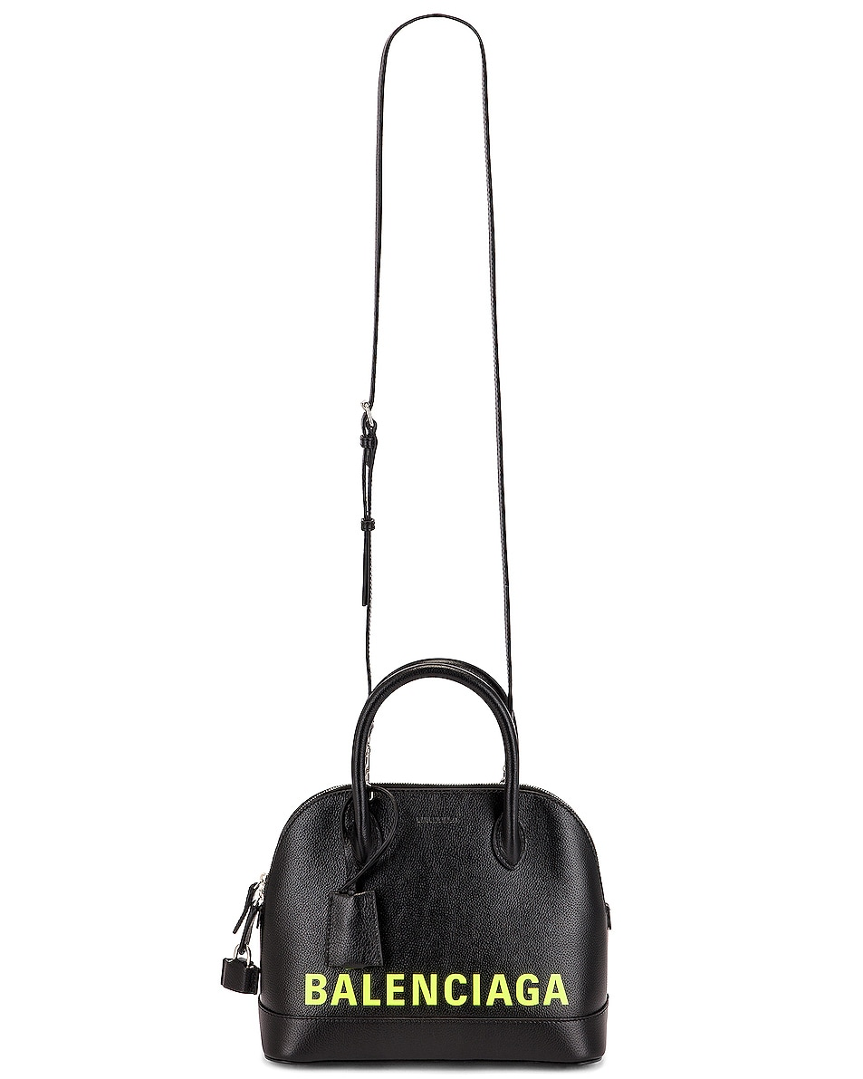 Image 6 of Balenciaga Small Logo Ville Top Handle Bag in Black & Fluo Yellow