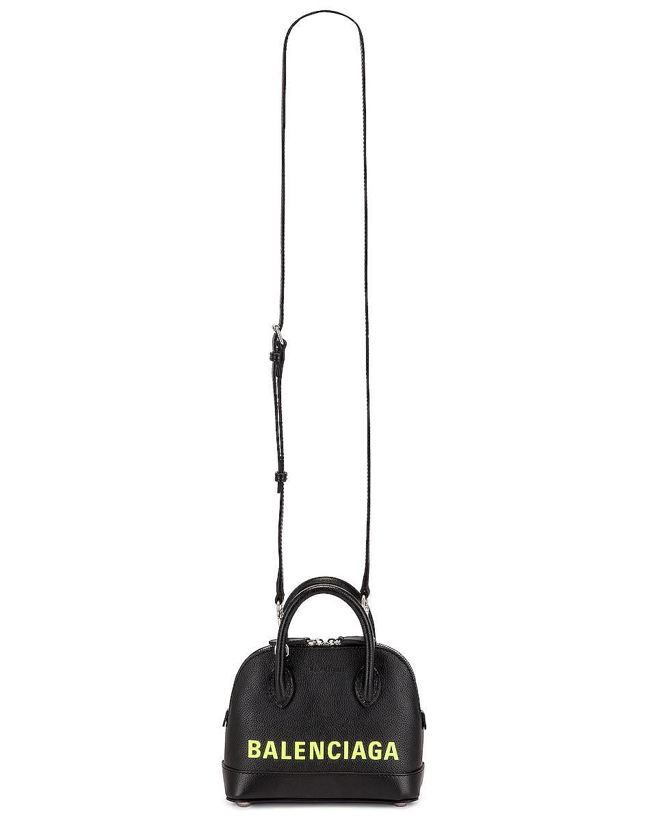 Image 6 of Balenciaga XXS Logo Ville Top Handle Bag in Black & Fluo Yellow