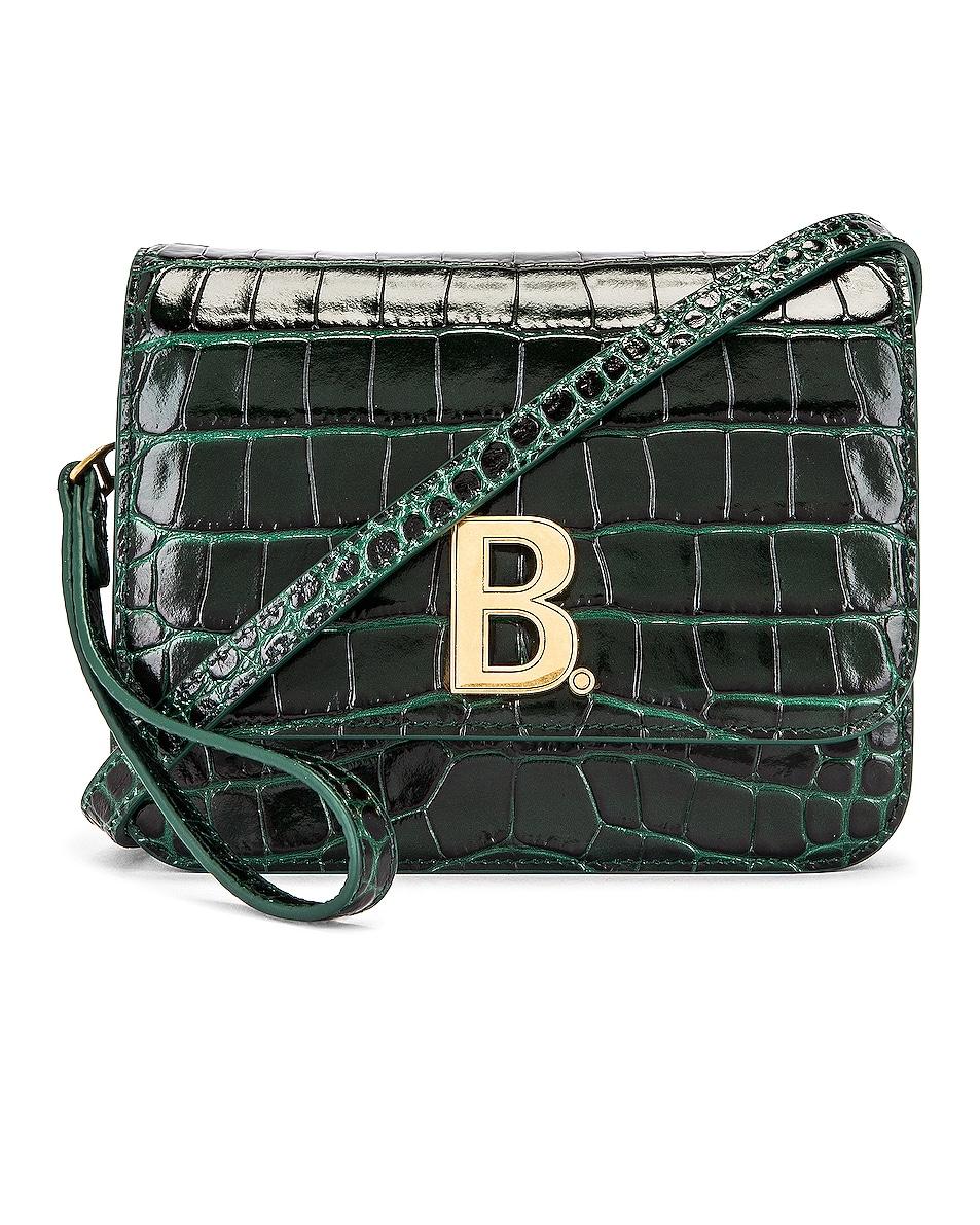 Image 1 of Balenciaga Small Embossed Croc B Bag in Dark Green