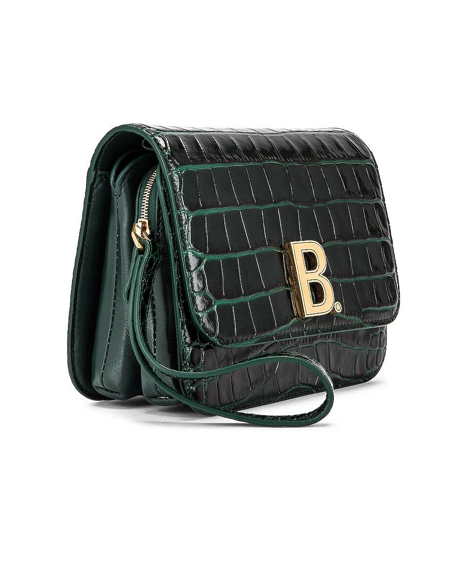 Image 4 of Balenciaga Small Embossed Croc B Bag in Dark Green