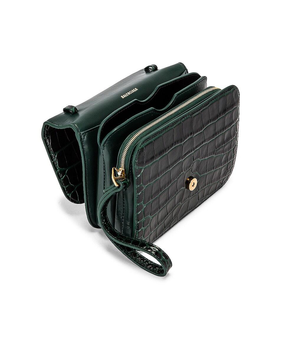 Image 5 of Balenciaga Small Embossed Croc B Bag in Dark Green
