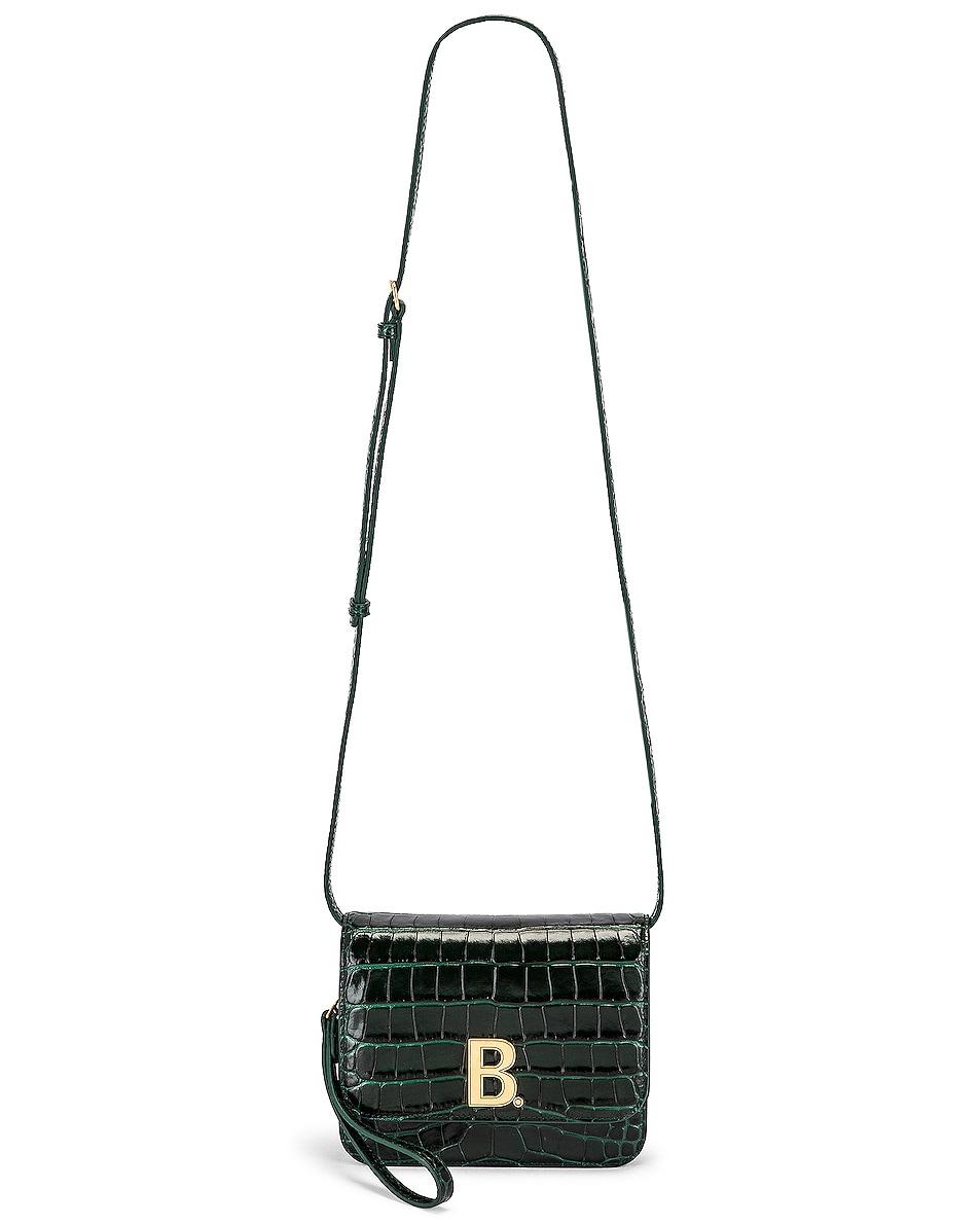 Image 6 of Balenciaga Small Embossed Croc B Bag in Dark Green