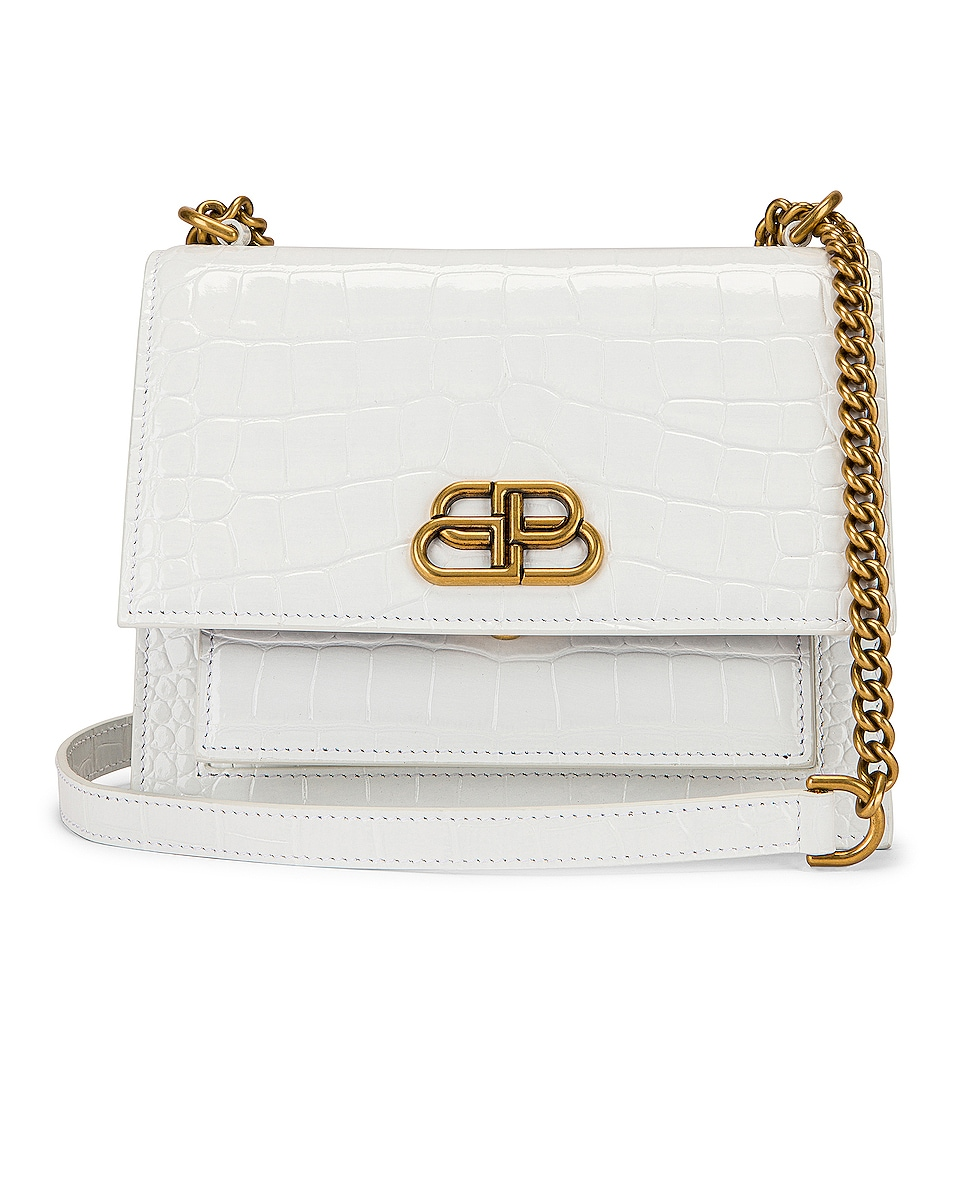 Image 1 of Balenciaga Small Embossed Croc Sharp Chain Bag in Optic White