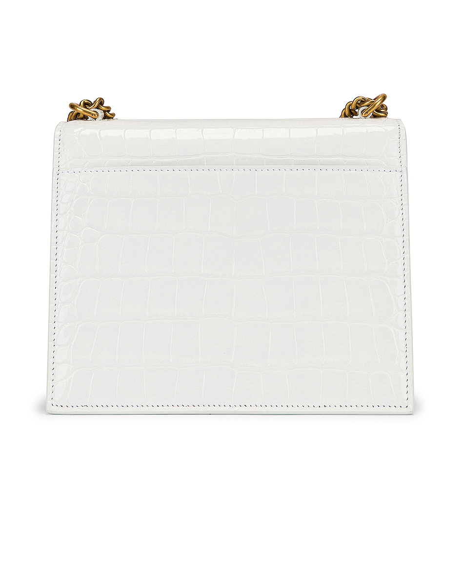 Image 3 of Balenciaga Small Embossed Croc Sharp Chain Bag in Optic White