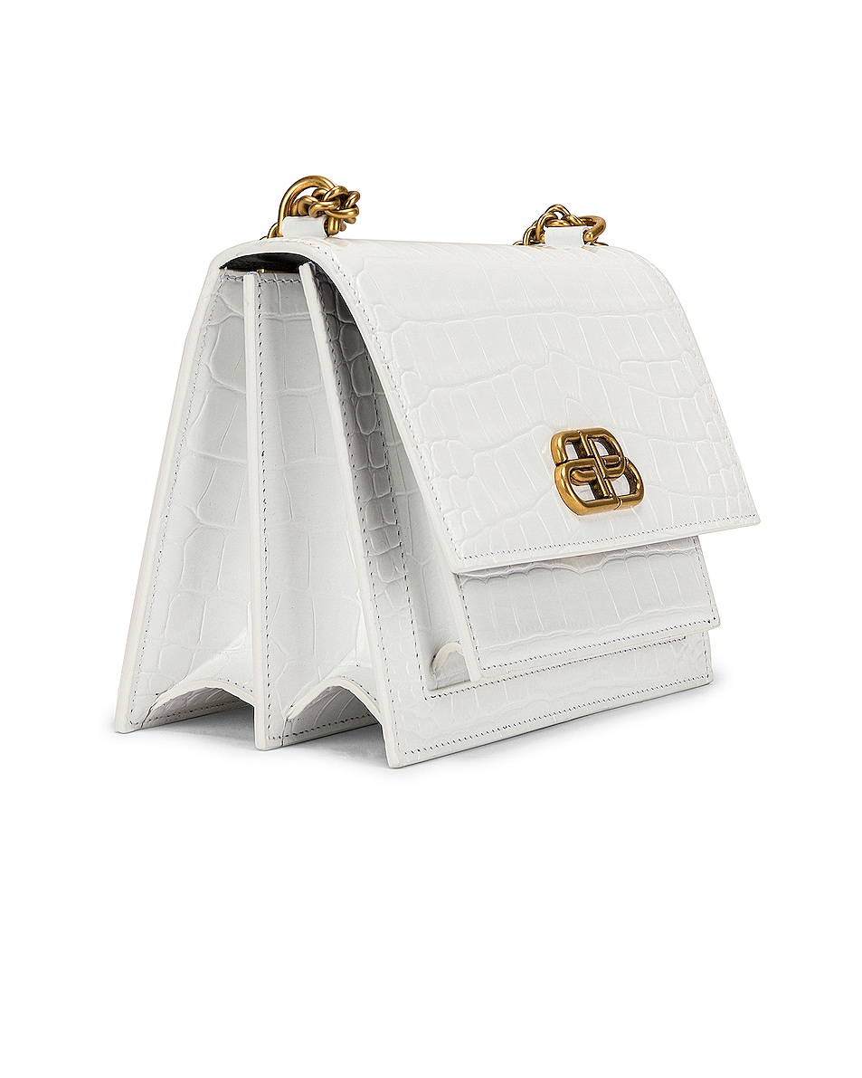 Image 4 of Balenciaga Small Embossed Croc Sharp Chain Bag in Optic White