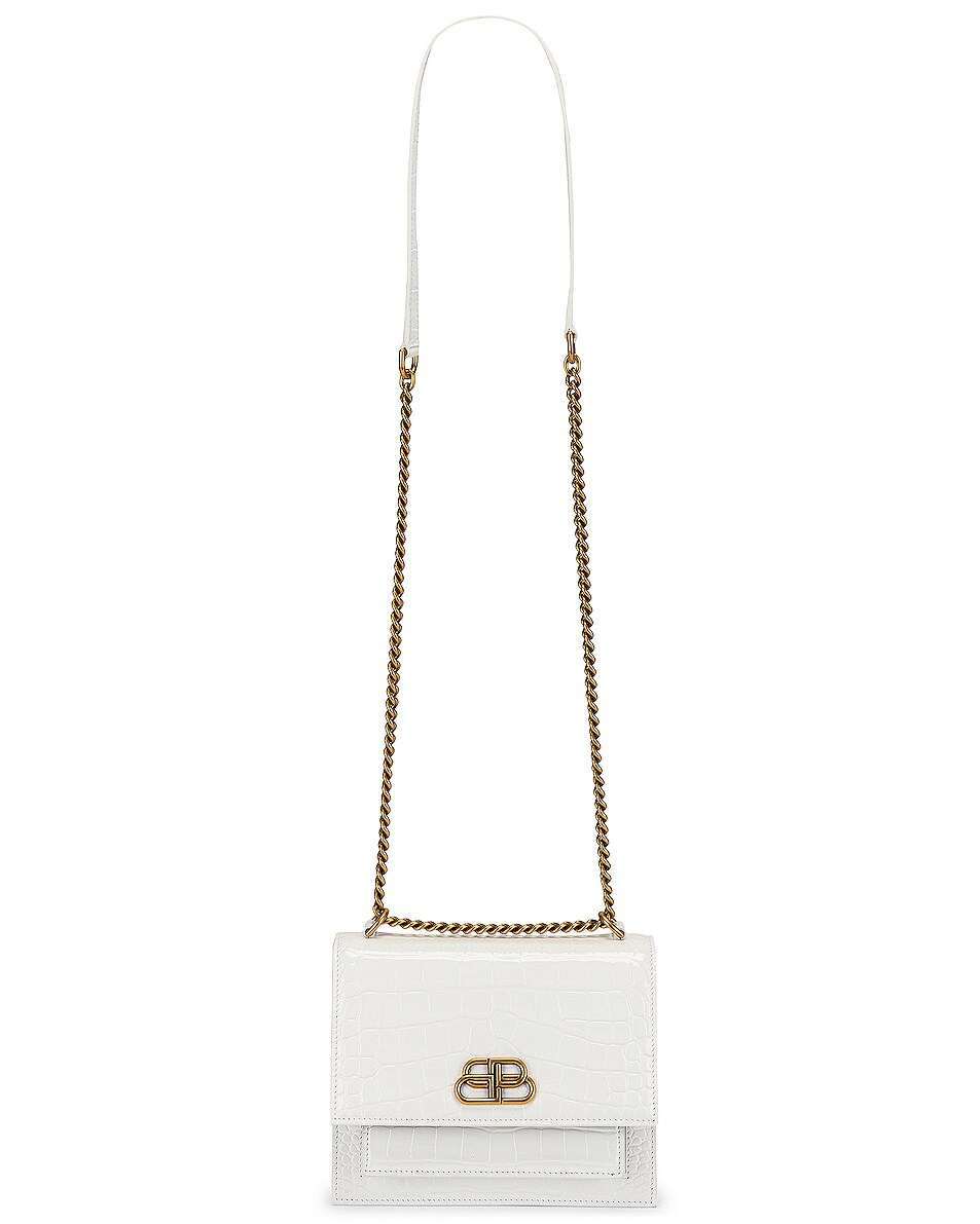Image 6 of Balenciaga Small Embossed Croc Sharp Chain Bag in Optic White