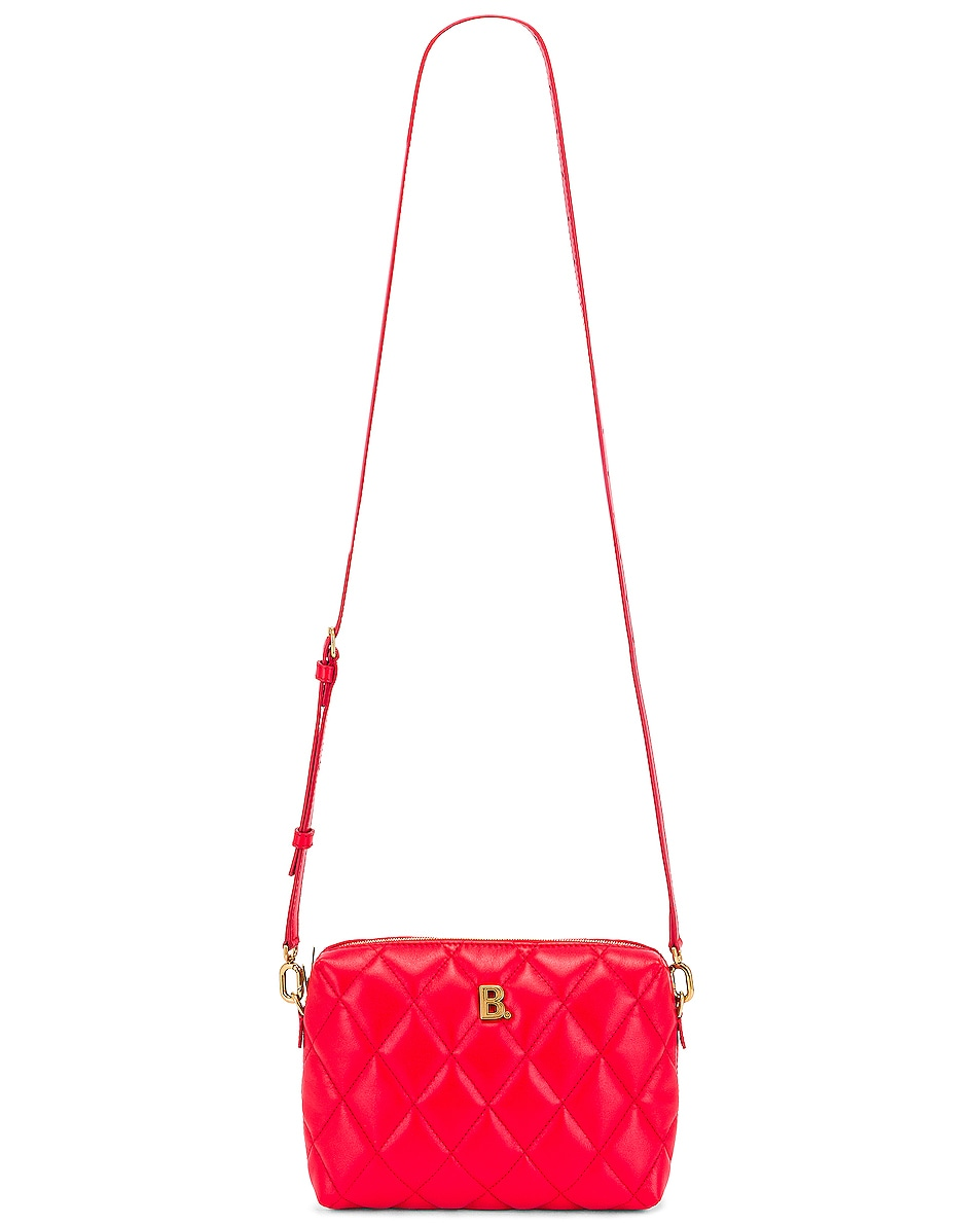 Image 6 of Balenciaga B Quilted Leather Camera Bag in Bright Red
