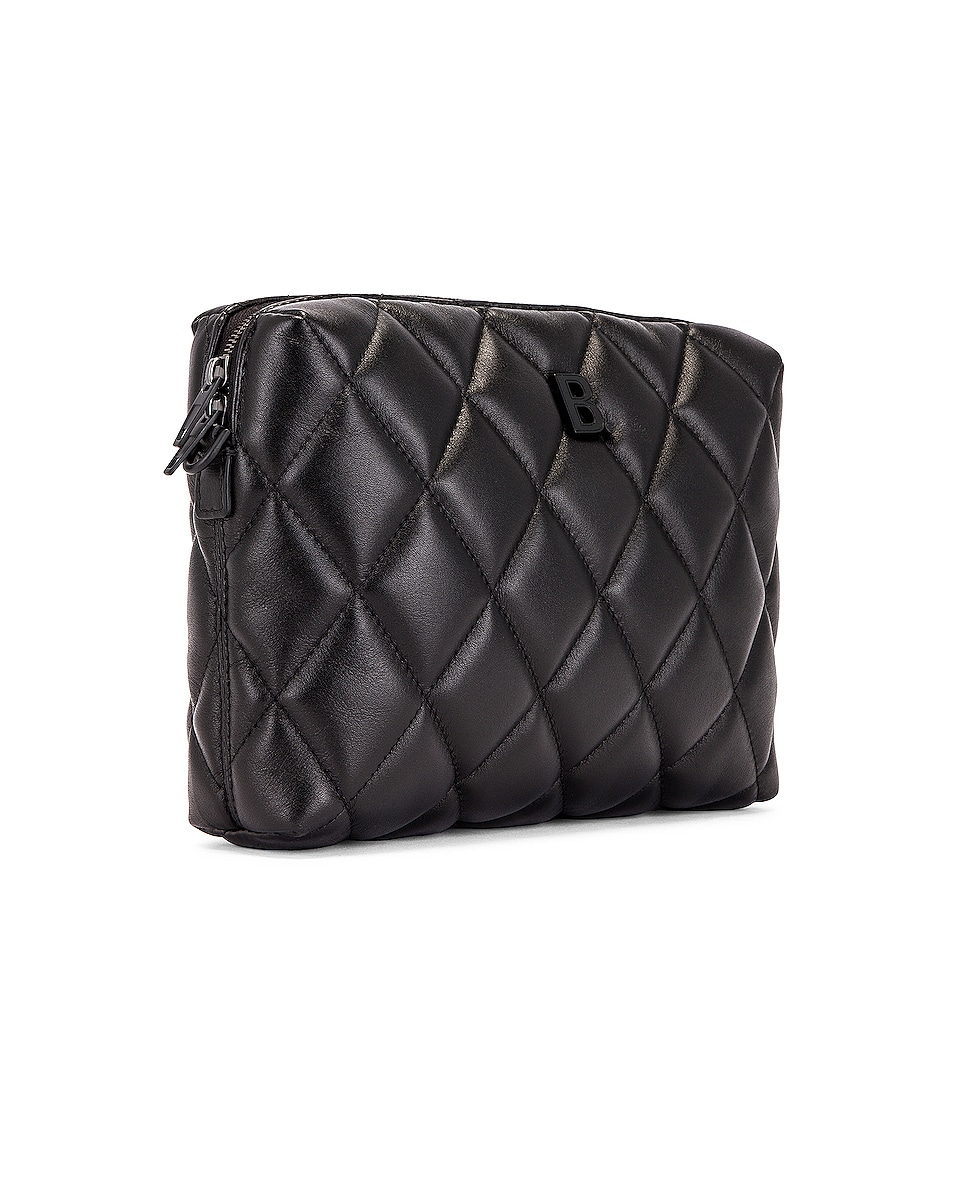 Image 4 of Balenciaga B Quilted Leather Camera Bag in Black